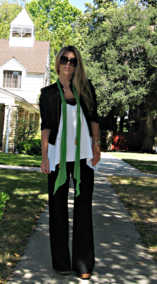 wide leg pants+loose outfit+green scarf+miu miu shoes