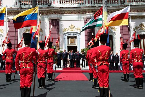 Ehrenparade für die Präsidenten Südossetiens und Abchasiens in Caracas