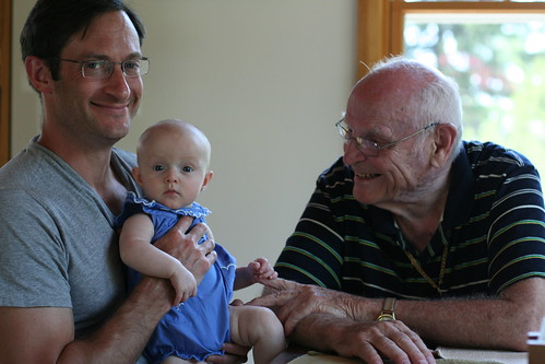 Felicity with her Daddy and Great-Granddad