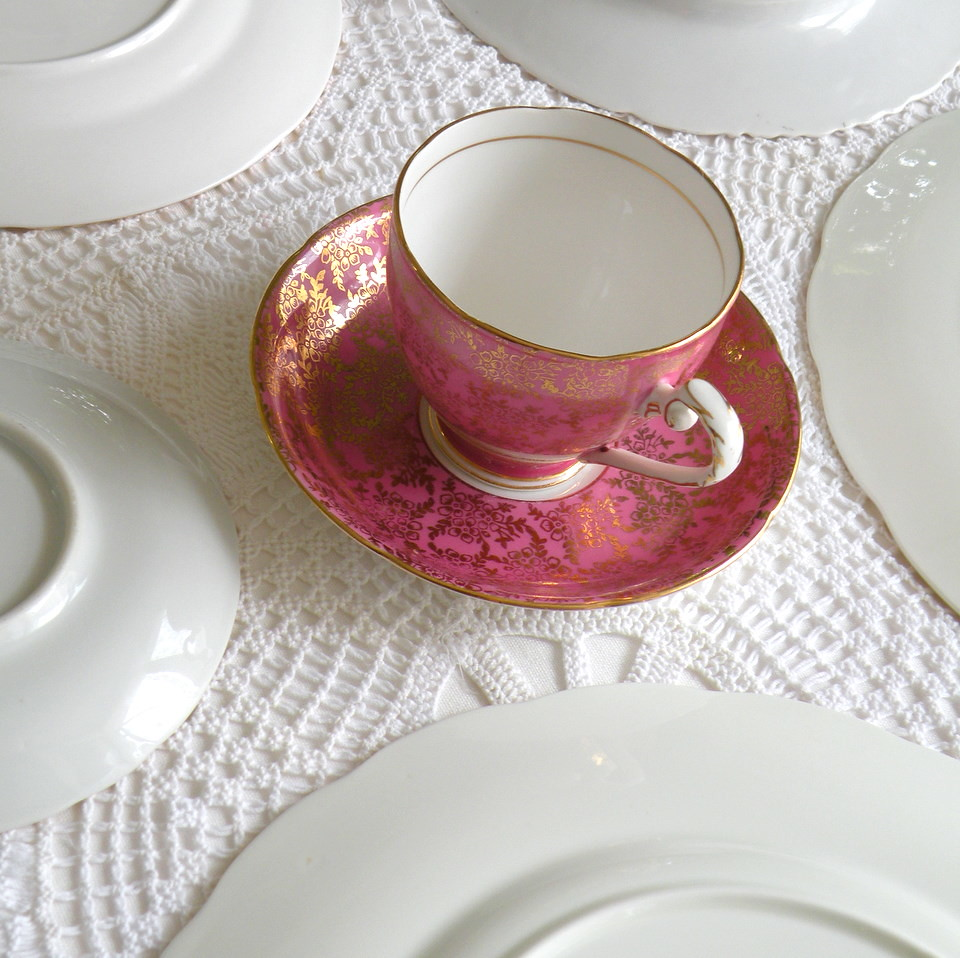 Royal Grafton fine bone china teacup & sauce in raspebrry pink from England
