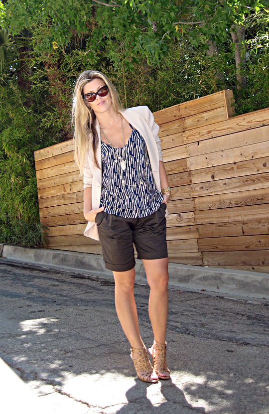 shorts and blazer+gold accessories+Tom Ford Anouk sunglasses+nude cut out heels-og