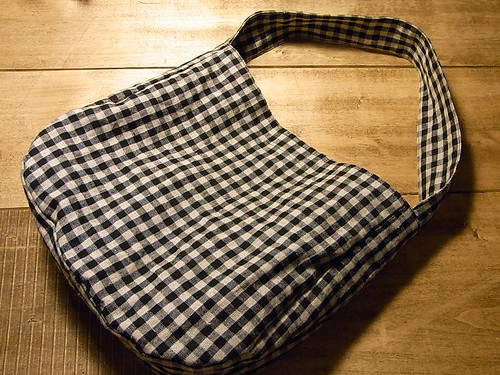 リネン ギンガムチェックのワンハンドルバッグを販売中ー