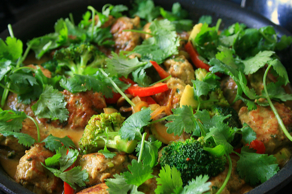 Thai Chicken Meatballs in Green Coconut Curry