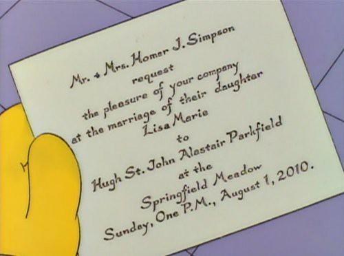 Lisa Marie Simpson's Wedding Invitation: Sunday, 1 August 2010