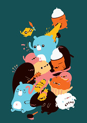 When Cute Goes Bad (matchola) Tags: cute animals illustration fight mosh bad sword vector matchola