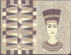 Nefertiti (Da Ani) Tags: moleskine lines pen gold pattern bust egyptian nefertiti traiangle