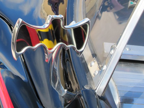 The '66 Batmobile: Mirror with Bat Extinguisher reflection