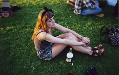 (Claire Marie Vogel) Tags: camera girls light sunset summer people sun color cute film beer girl field marie 35mm photography photo claire waiting pretty sitting sad looking fat think watching graduation picture bored ground tire tessa sit thinking blonde wait mm 35 seated vogel calarts