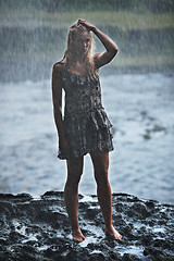 Rain on me (LalliSig) Tags: summer portrait woman white black wet water rain fashion yellow waterfall iceland blurry bokeh portraiture seljalandsfoss bluebrown