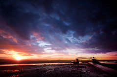 Belhaven Sunset (Semi-detached) Tags: bridge blue sky cloud beach nature clouds coast scotland sand warm nowhere sigma august east dunbar 1020 lothian 2010 belhaven nd1000 nd110 dunbarlandscapesunsetnikond300cloud