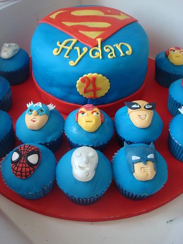 Superhero Squad cake and cupcakes