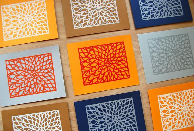 zinnia lino prints