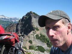 Dad on top of Plummer peak (Shane M.) Tags: mountain climb piano peak summit ascent wierdface plummerpeak