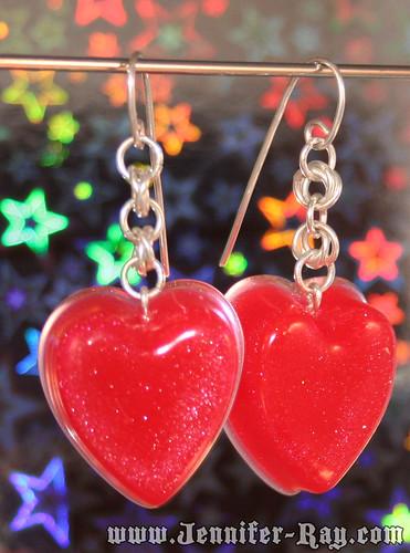 Rockin Cherry Red Heart Earrings - Bold Chainmail Sterling Silver Earrings