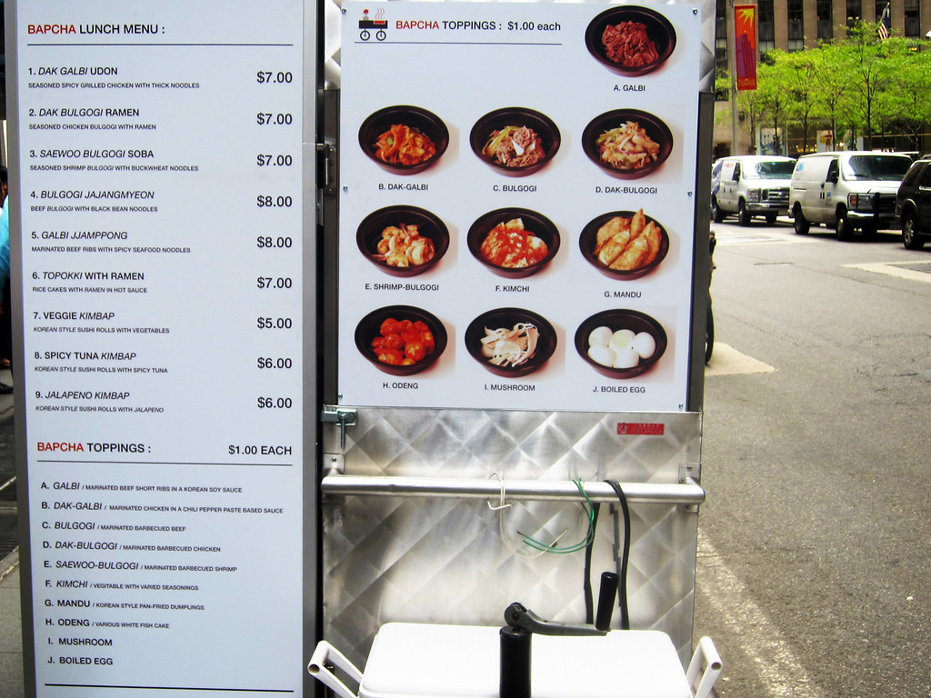 Bapcha Noodle Cart Menu