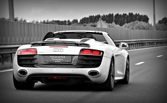 Audi R8 V10 Spyder (Thomas van Rooij) Tags: lighting light red white black holland color ass beautiful dutch car clouds contrast speed photography grey design spider flying cool nice nikon highway open power shot angle thomas milano awesome rear great flight engine nederland convertible automotive event exotic coloring nikkor rims panning executive rolling vr v10 exhaust ahoy sportscar spoiler 2010 selective cabriolet r8 18105 carbonfibre selectivecolouring d90 cpz 52l rooij worldcars maartenmemorial thomasvanrooij r8spyder audir8v10spyder maartenmemo