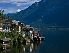From My Balcony (NatashaP) Tags: houses summer vacation lake mountains austria village searchthebest hill explore hallstatt frommybalcony interestingness4