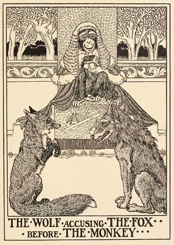 Vulpes et Lupus, et Simius Iudex