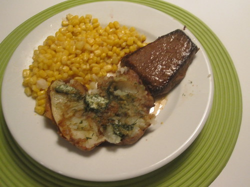 steak, potato with dill butter, corn