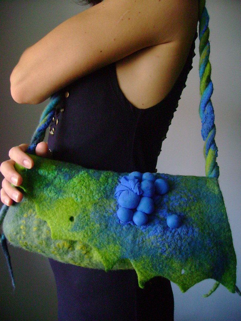 Handfelted Art handbag / purse / clutch wool / silk felt COBALT TONIGHT OOAK blue green