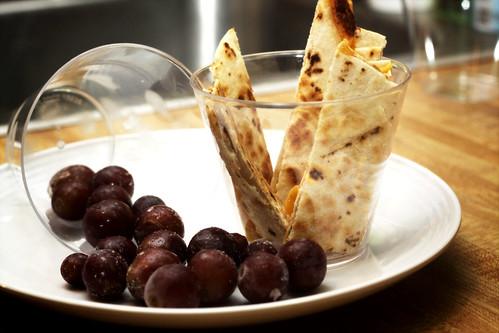 quesadilla strips and grapes