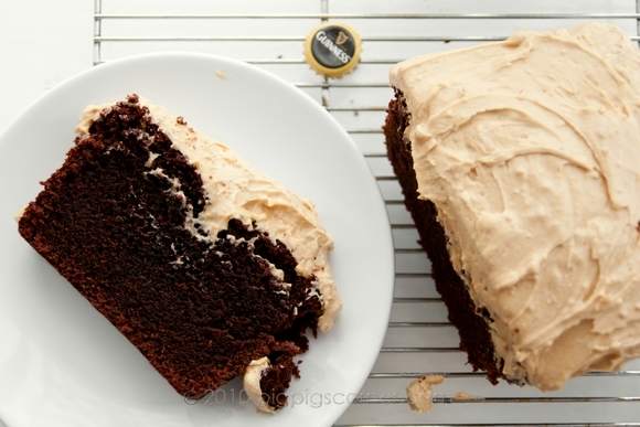 Guinness Chocolate Cake with Peanut Butter Frosting