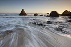 Sweeping Waves - El Matador State Beach, Malibu, California (D Breezy - davidthompsonphotography.com) Tags: canon canon5dmarkii 5dmarkii 1740l 1740mml malibu california elmatador elmatadorstatebeach usa rocks waves sunlight glow leefilters