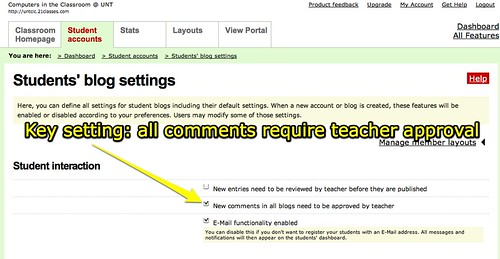Key setting: all comments require teacher approval