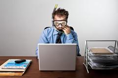 post-vacation blues (Buldrock) Tags: selfportrait self office pc desk ufficio scrivania softbox divingmask boccaglio strobist vacanzefinite sindromedarientro backsyndrome vacationended mascherasubacquea