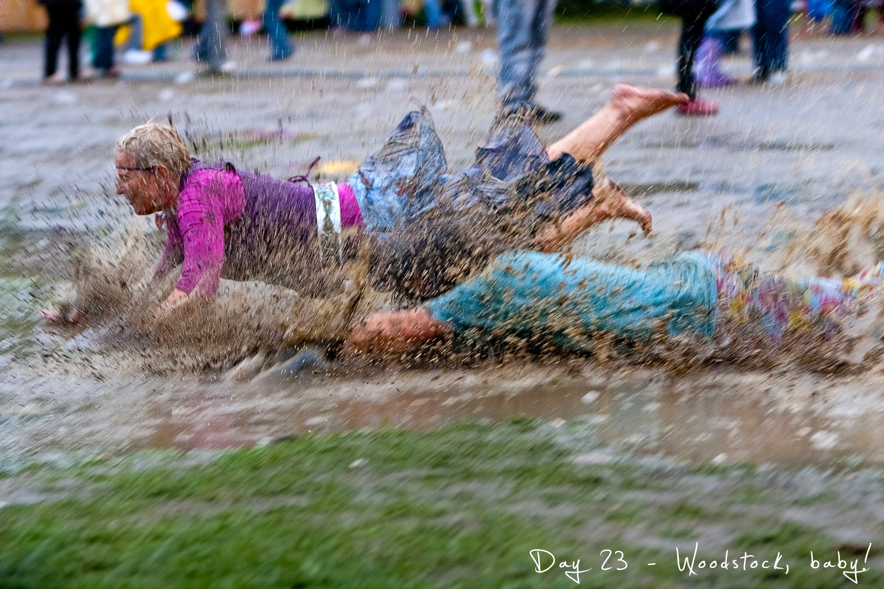 project 365, day 23, rain, 023/365, mudd, mudd diving, festival, woodstock, girls, puddle, puddle diving, wet