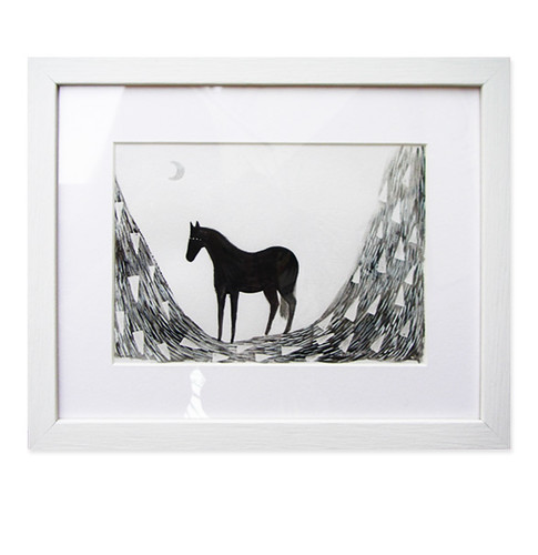 Black Beauty Framed Original Drawing