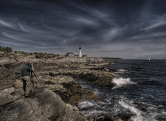 Photographer at Work (Kevin. B.) Tags: ocean camera blue lighthouse club work portland coast waves photographer maine rocky shades atlantic shore valley headlight roughwater saiing