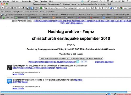 twitter hashtag wars: #eqnz (3pm)