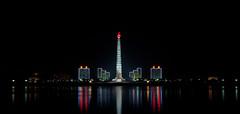 Tower of Juche Idea Panorama - Pyongyang (Tom Peddle) Tags: light reflection tower river square idea long exposure kim north korea il korean pyongyang sung dprk juche taedong of