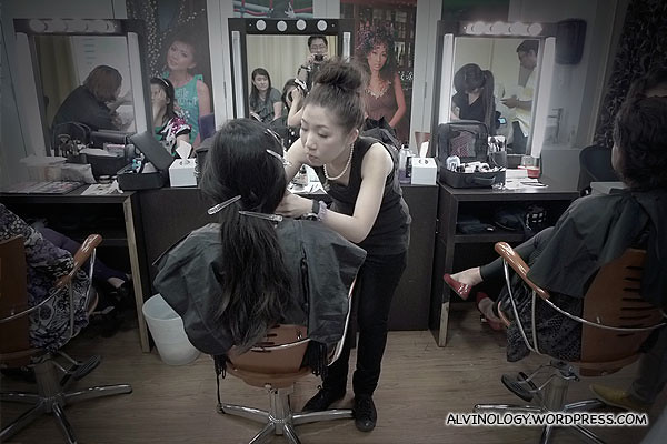 The make up artists from Make Up For Ever at work
