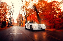 The Last Survivor (oskarbakke) Tags: autumn red england orange white motion english fall speed automotive exotic morgan aero supersports aeromax oskarbakke wwwoskarbakkecom