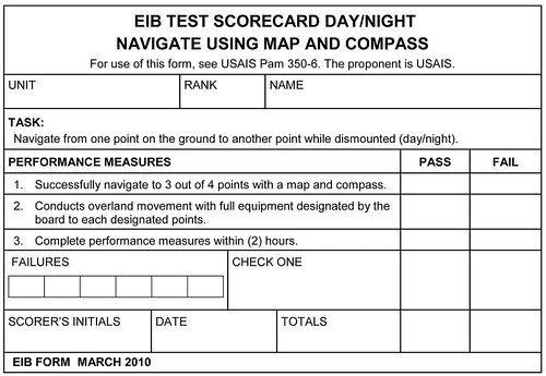 The Expert Infantryman Badge Test - EIB TEST SCORECARD DAY-NIGHT