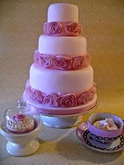 Rose ribbon cake (nice icing) Tags: pink wedding roses cake sugar icing ribbon