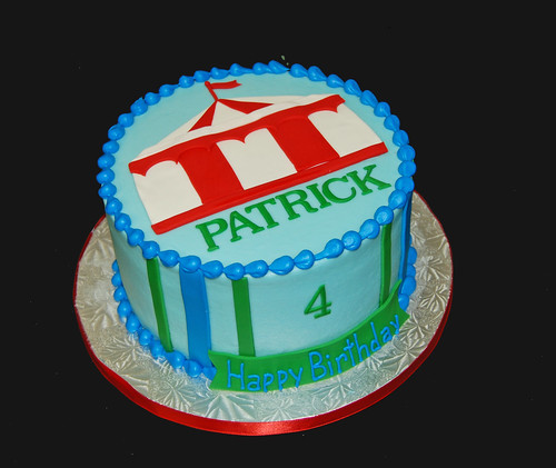 blue and green carnival tent 4th birthday cake