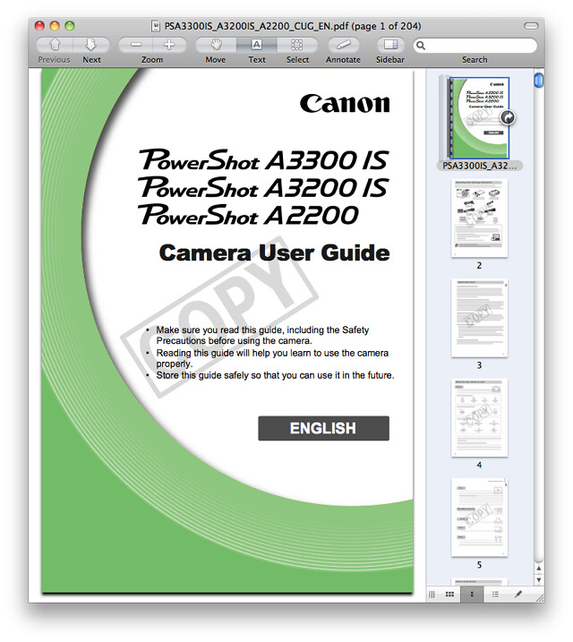 Canon A2200 Manual