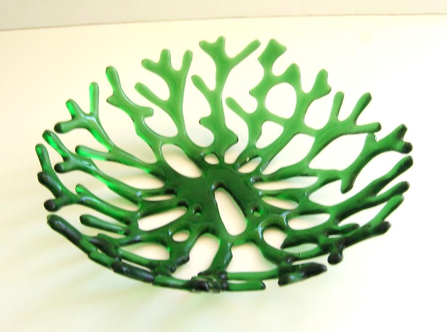 Green Sea Coral Art Glass Bowl Centerpiece.
