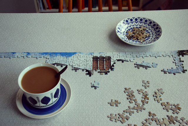 coffe and jigsaw puzzle