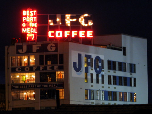 JFG Coffee sign at night