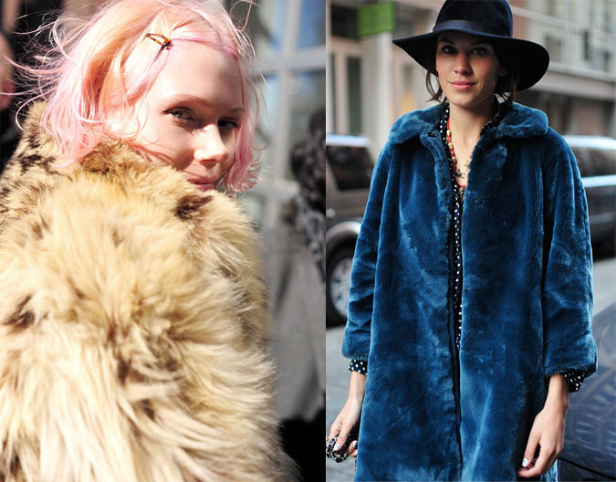 streetstyles Fashion Week 2011 Alexa Chung, models in new york, Pink hair, trends