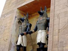 Guards (Khaled M. K. HEGAZY) Tags: nikon coolpix p520 singapore universalstudios outdoor closeup pharaonic statue yellow brown white black