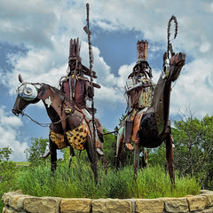 Blackfeet Welcome (Paul Krueger...) Tags: glacier glaciernationalpark montana nationalparks sculpture blackfeet blackfeetnation eastglacier welcome riders horses metalsculpture