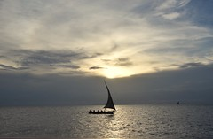 Just Sailing (The Spirit of the World) Tags: sailboat dhow sailing sun light sunset clouds sky evening silouettes zanzibar island ocean sea seascape indianocean eastafrica africa water tanzania