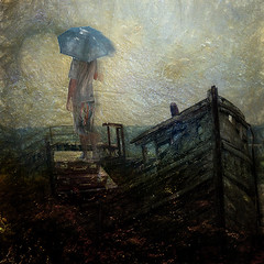 In the search for the freedom. (Nellie Vin) Tags: boat old broken human man dreams search waiting looking woman umbrella poor nellievin photography surrealism color