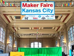 MakerFaire KC 2017sign hanging from the ceiling of Union Station! (LauraGilchrist4) Tags: designthinking entrepreneurs makers inventors makerfairekc makerfaire makerfaire2017 kansascity unionstation cernkcgigabitchallenge mozillafoundation physics education stem maker makered kcedu elevateedu