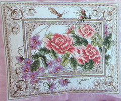 Cross-Stitch Tea Rose Cushion (FernShade) Tags: embroiidery cushion tearoseembroideredcushion needlework handstitched pillow crossstitch
